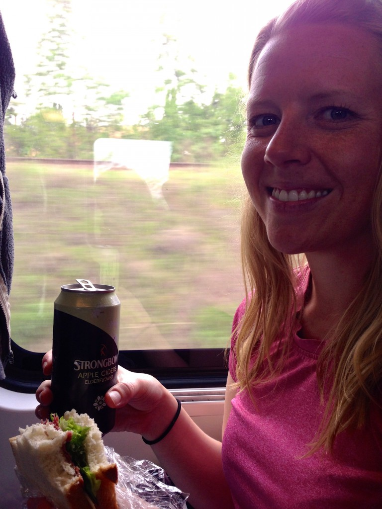 Enjoying some cider with my lunch on the train to Vienna.