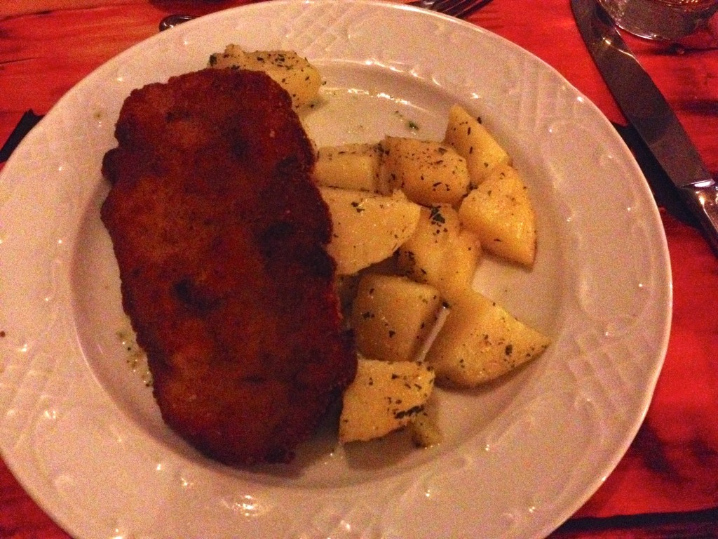 Second course at Nador, Chicken Schnitzel with potatoes.