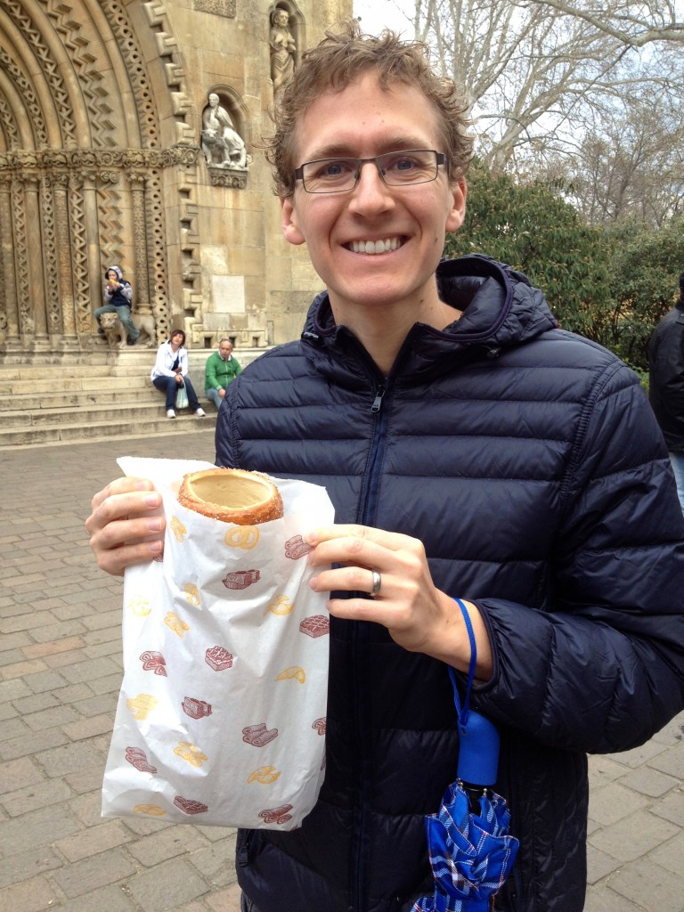 Here's Kevin with our Chimney Cake. At the festival, they usually run about 1000 Forint (about $3.72), but are quite a bit bigger than the ones you'll get at Molnar's.