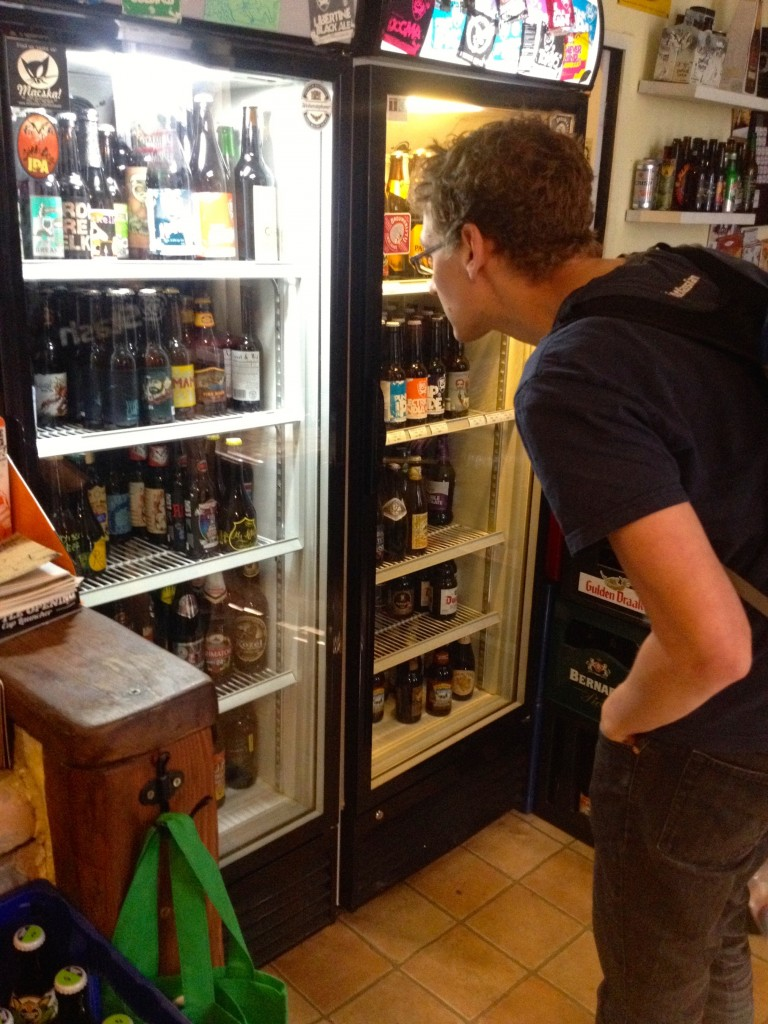 Checkin' out the bottled beer selection at Csak a Jó Sör.