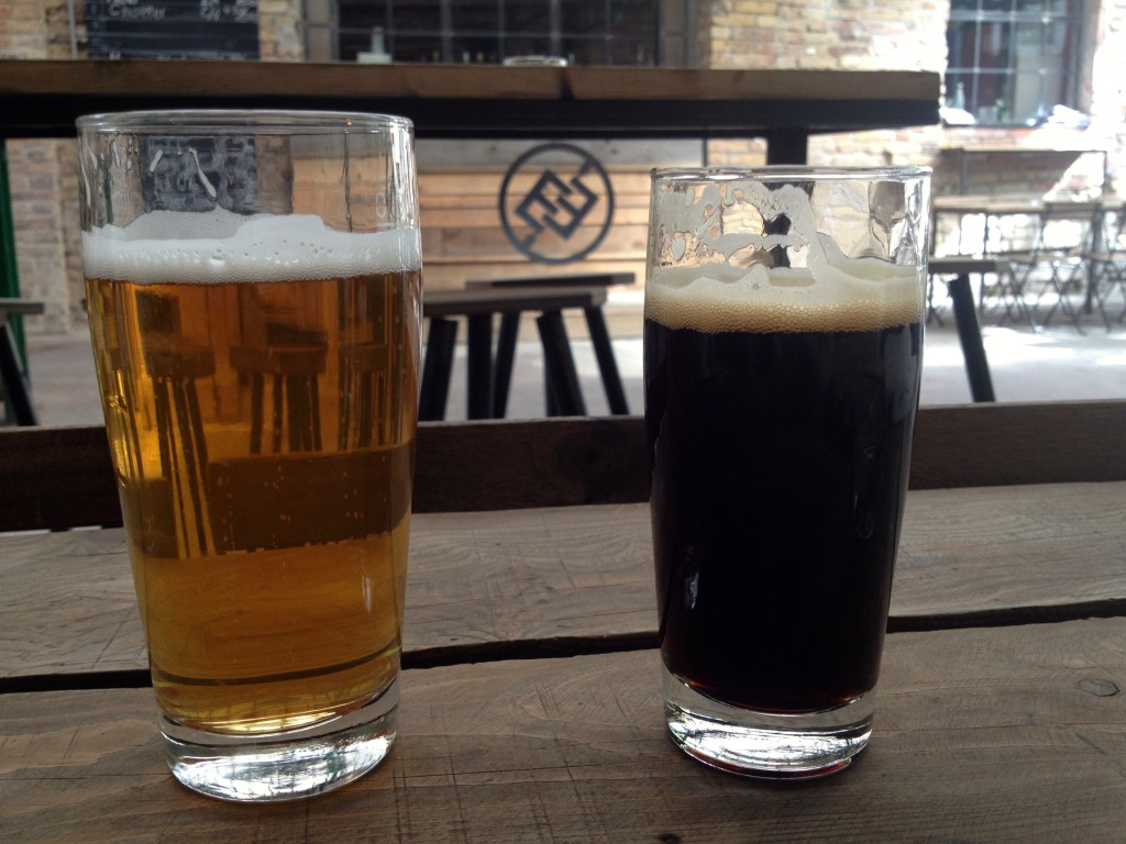 Left: Propaganda Pilsner. Right: Pineapple Noir Saison.