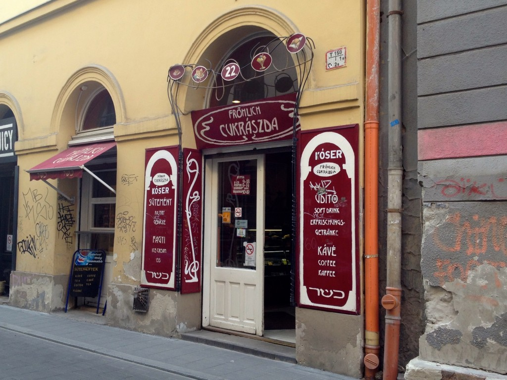Check out this unassuming storefront! Fröhlich is located smack dab in the middle of the Jewish Quarter of Budapest.