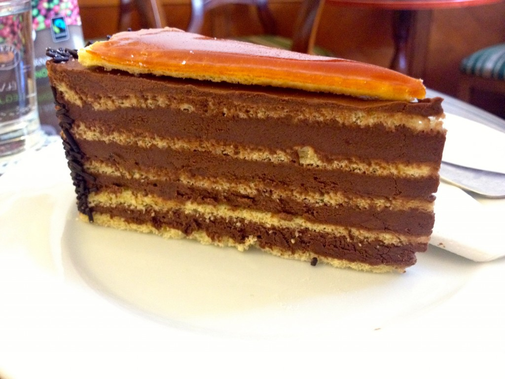 Check out this Dobos Torte. I can definitely get onboard with this ratio of icing to cake.