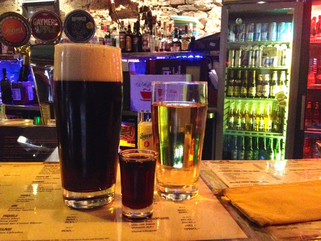Kevin's dark beer, my cider, and a shot of Unicum, Hungary's most famous (and most disgusting) liquor.