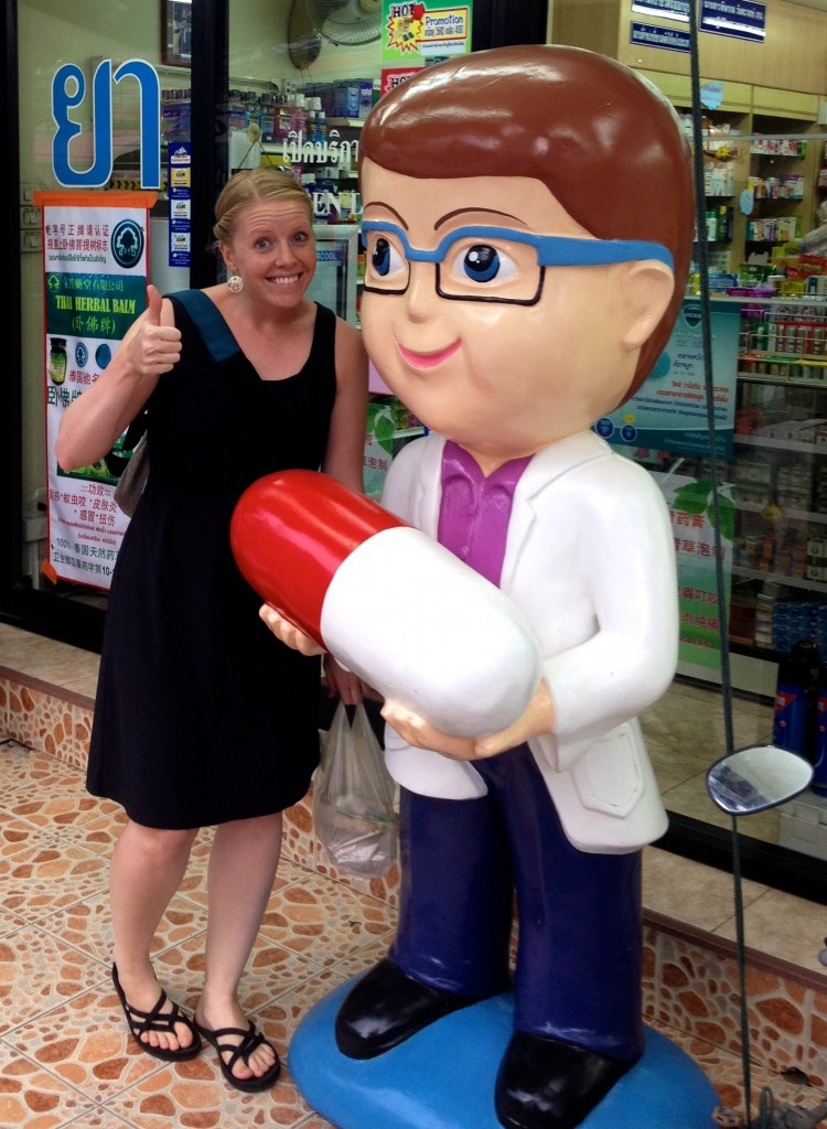 Outside a pharmacy in Chiang Mai, Thailand.