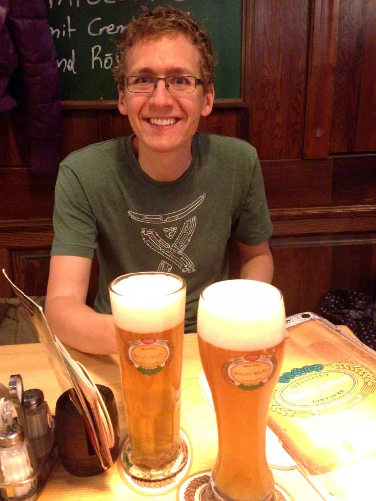 Kevin's in his element at Salm Brau! We really enjoyed having dinner and beers here.