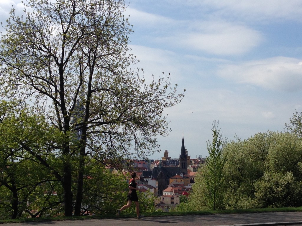 "This is Kevin in Vitkov Park, which sits high atop Prague with amazing views of the ""City of Spires"". Prague was a hilly place to run, but that means two things: burning quads and beautiful views!"