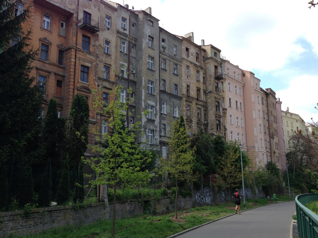 On the way back from Vitkov Park, we take a great paved trail that runs right next to a big, beautiful row of abandoned buildings. It's amazing how many abandoned buildings there are in Prague.