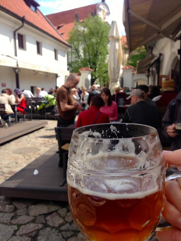 Klasterni Pivovar Strahov's fun Beer Garden.