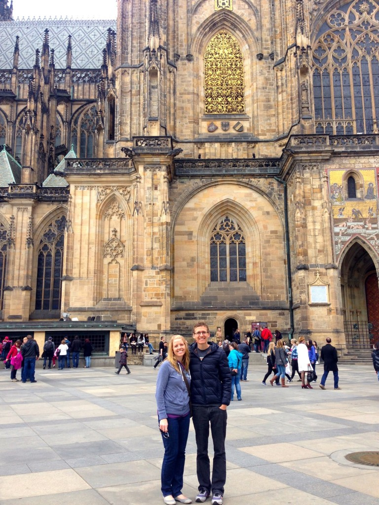 Hanging out in front of Prague's Beautiful St. Vitus Cathedral.