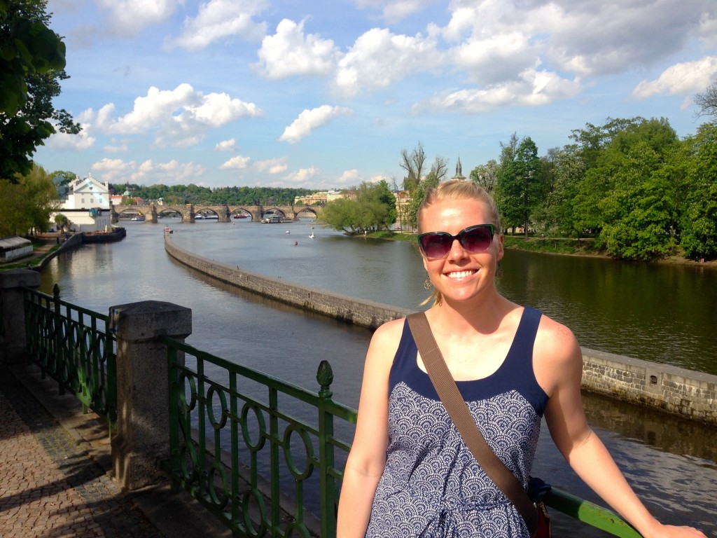 Posing in front of Prague's famous Charles Bridge, a pedestrian-only bridge that is almost always PACKED with tourists!