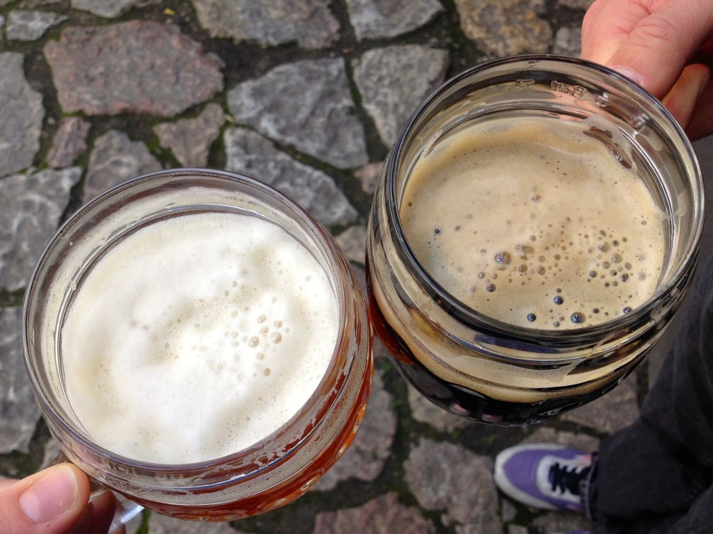Left: Amber Lager. Right: Dark Lager.