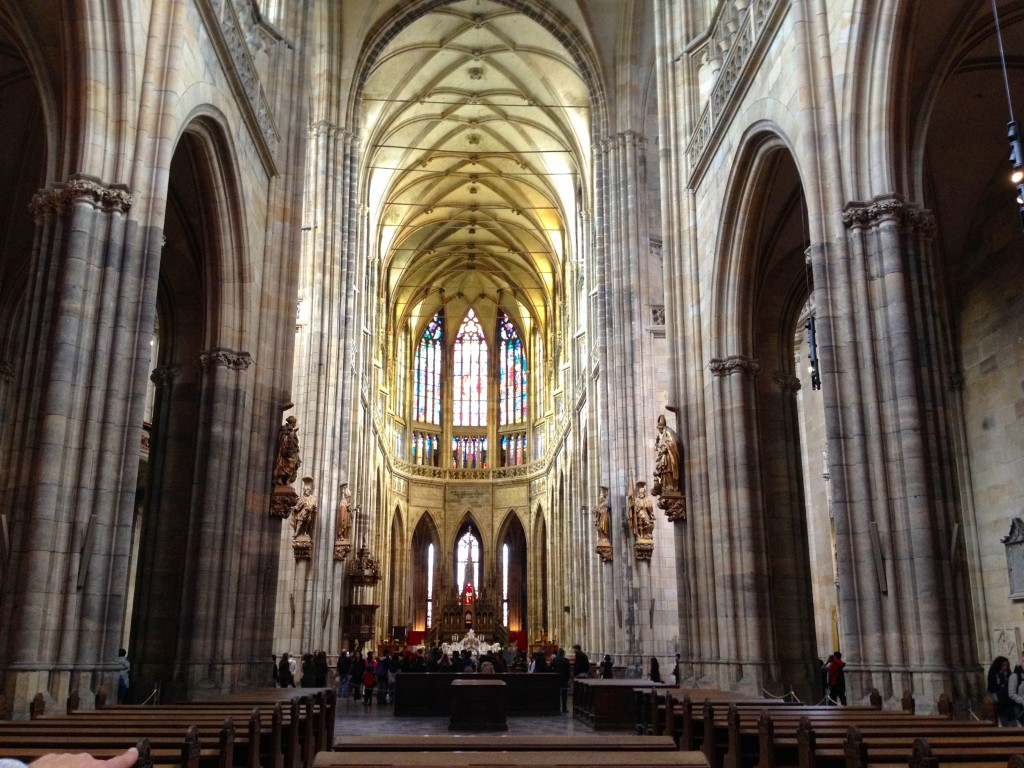 The inside of St. Vitus Cathedral. Apparently there has been an ongoing battle between the church and the state as to who has the rights to run this church. When the state runs it, apparently it's free to visit. When the church runs it, it costs to get in.