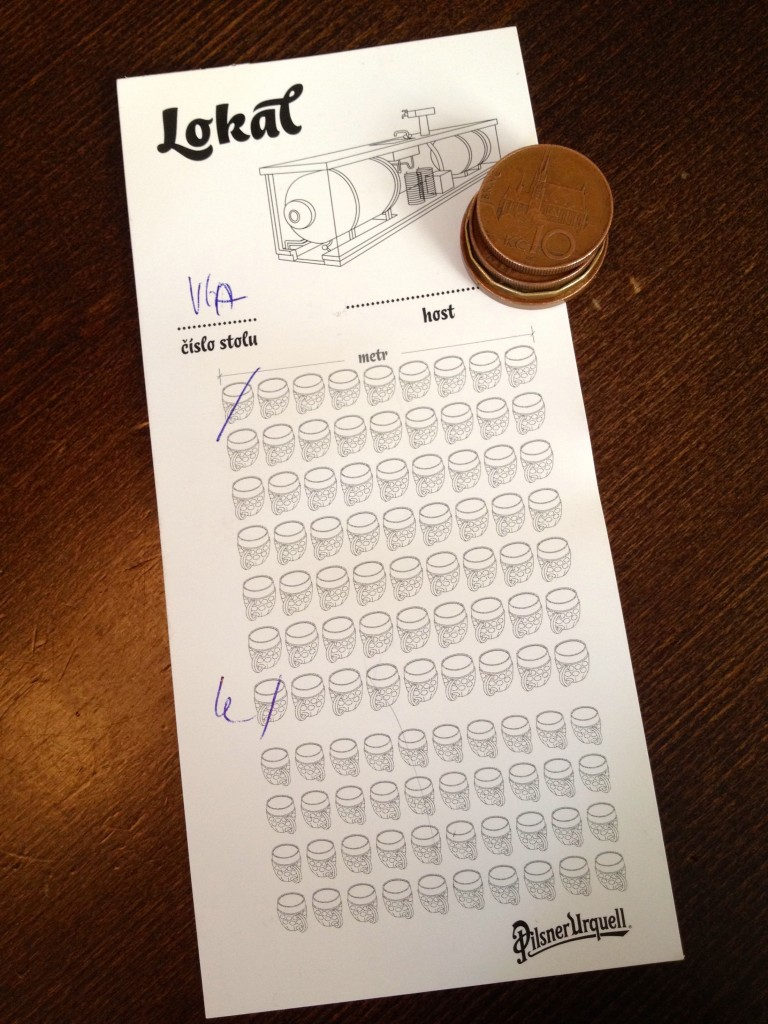 "This is how they keep track of your tab at Lokal! It would be awesome to go with a big group and play ""black out"" with the beer tab. ""Black out"" would probably have multiple meanings if we tried that."