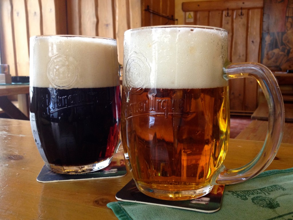 Left: Kozel Cerny. Right: Pilsner Urquell.