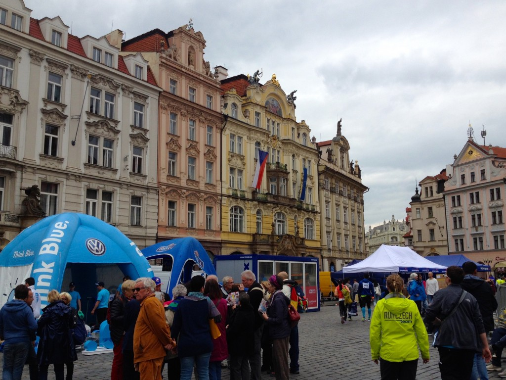 The beautiful buildings surrounding the Old Town Square - all the tents are leftover from the morning's marathon!