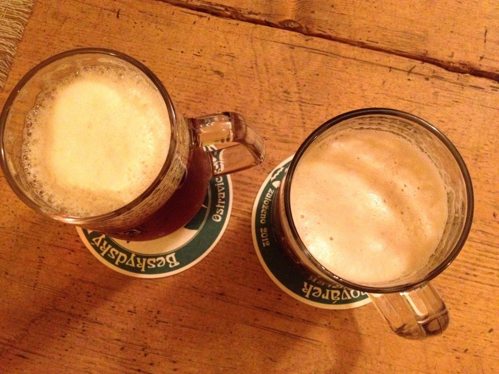 Left: Primator Polotmavy. Right: Modravsky Iyer dark lager.